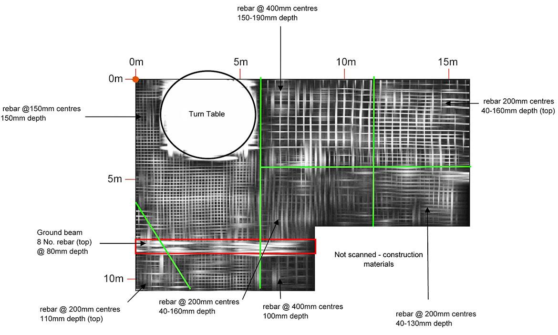 GPR depth slice of floor slab showing top reinforcement layer