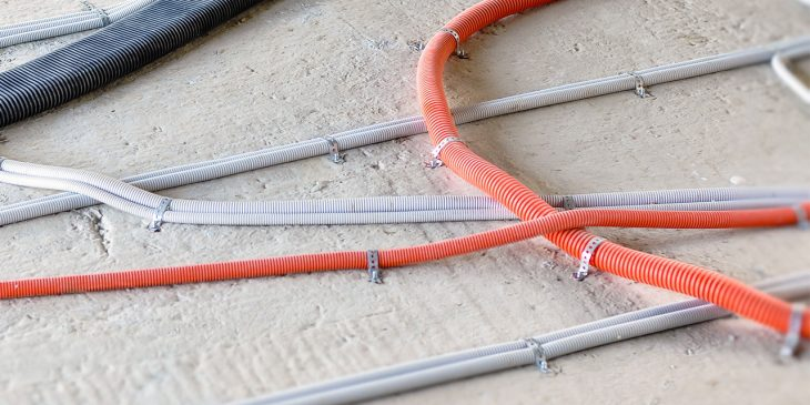Conduits and electrical services on concrete floor slab