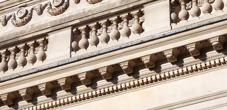 Stone facade of London building
