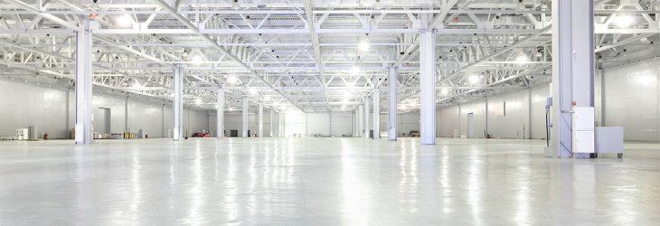 Fllor slab in empty warehouse