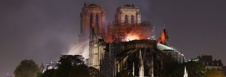 The fire of Notre Dame, Paris