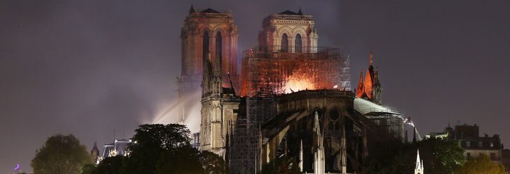 The fire of Notre Dame, Paris