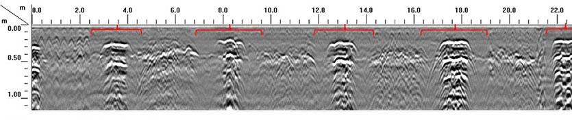 GPR radargram showing detected pad foundations