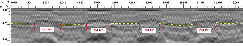 GPR radargram showing floor slab construction and detected pile caps