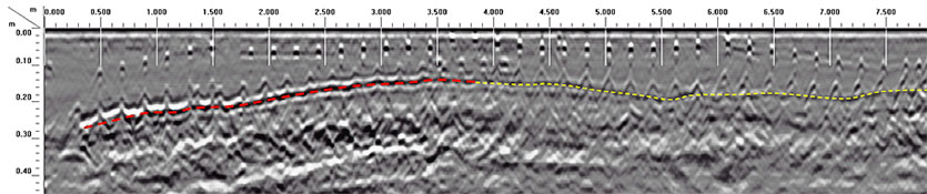 GPR radargram showing variations in slab thickness and reinforcement