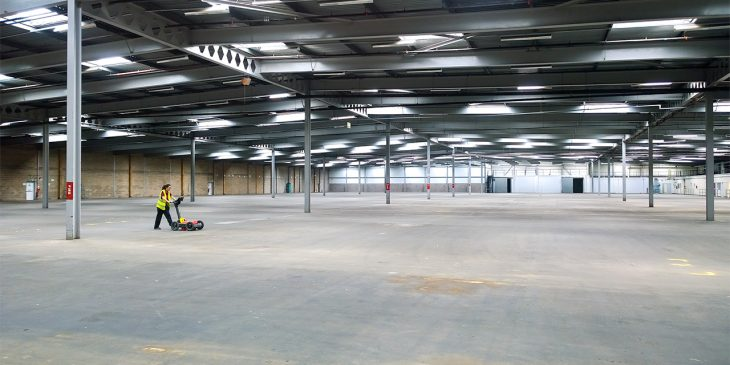 GPR scanning of warehouse floor slab