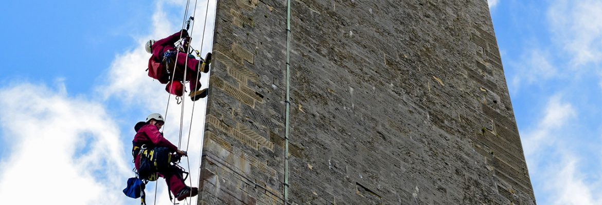 Abseil GPR survey of Wellington Monument